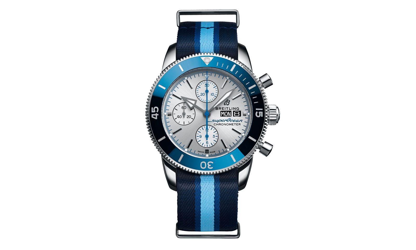 """Das Nato-Armband der Breitling """"Superocean Heritage Ocean Conservancy Limited Edition"""" wird aus ausgedienten Fischernetzen hergestellt."""