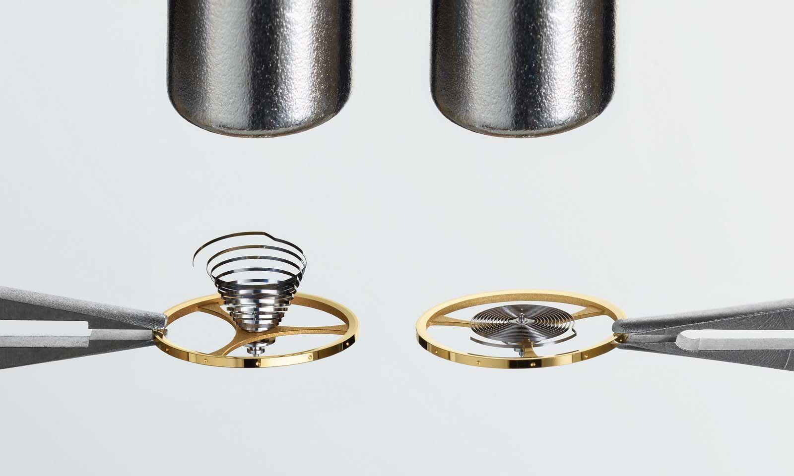 Während sich eine herkömmliche Spiralfeder dem Magneten entgegenbiegt, bleibt die neue Nivachron-Spirale in der ursprünglichen Form.