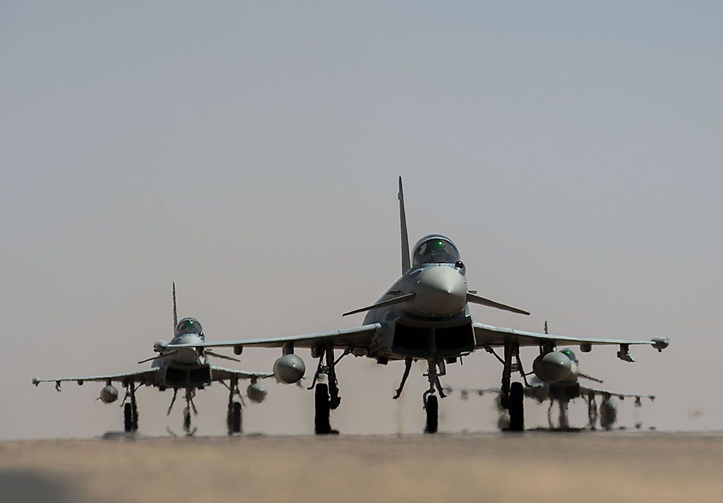 Saudische Typhoons im März 2017 auf einer Luftwaffenbasis im Sudan