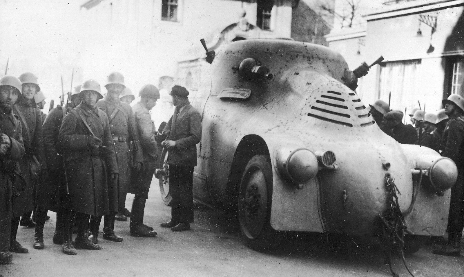 """Škoda-""""Schildkröte"""" in Floridsdorf, Februar 1934"""