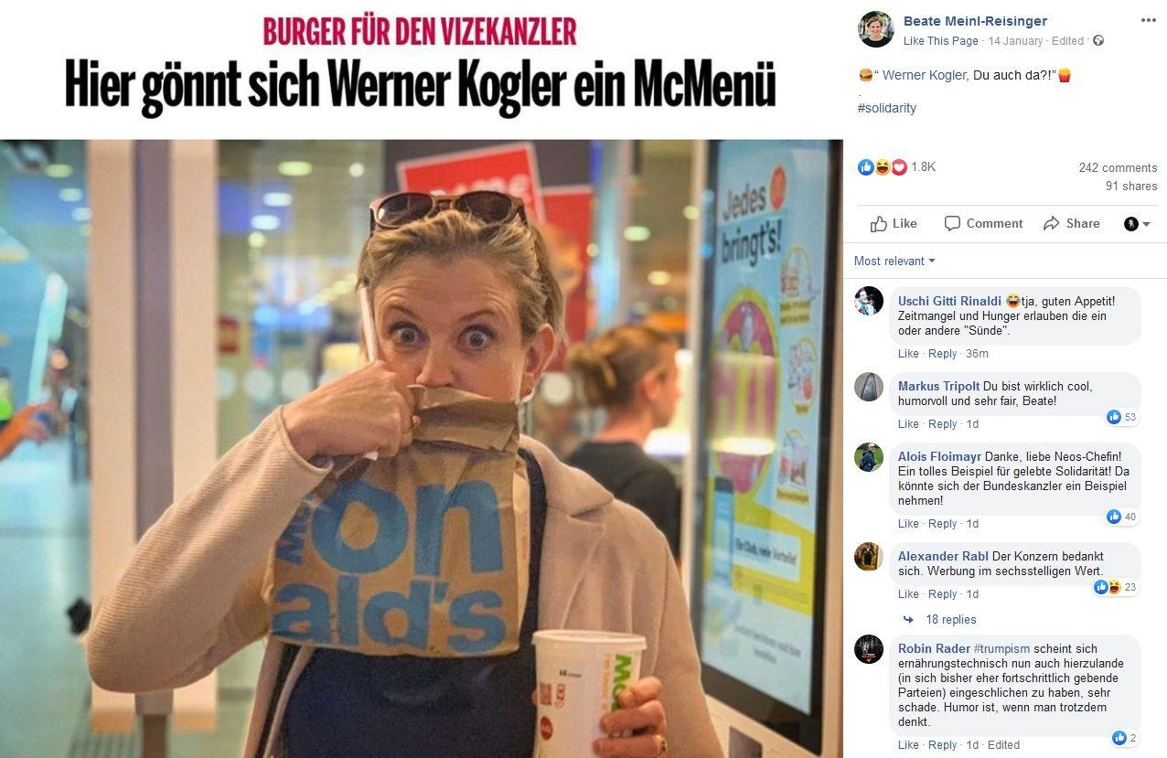 Beate Meinl-Reisinger via Facebook