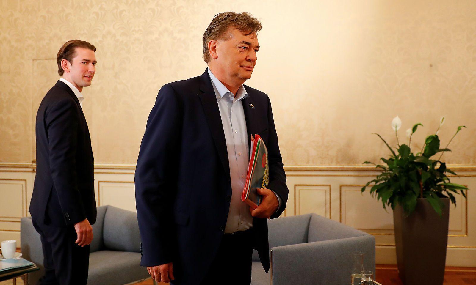 Head of OeVP Kurz meets head of Greens Kogler in Vienna