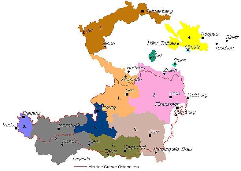 Deutschösterreich, wie es Ende Oktober 1918 von der Provisorischen Nationalversammlung in Wien beansprucht wurde.