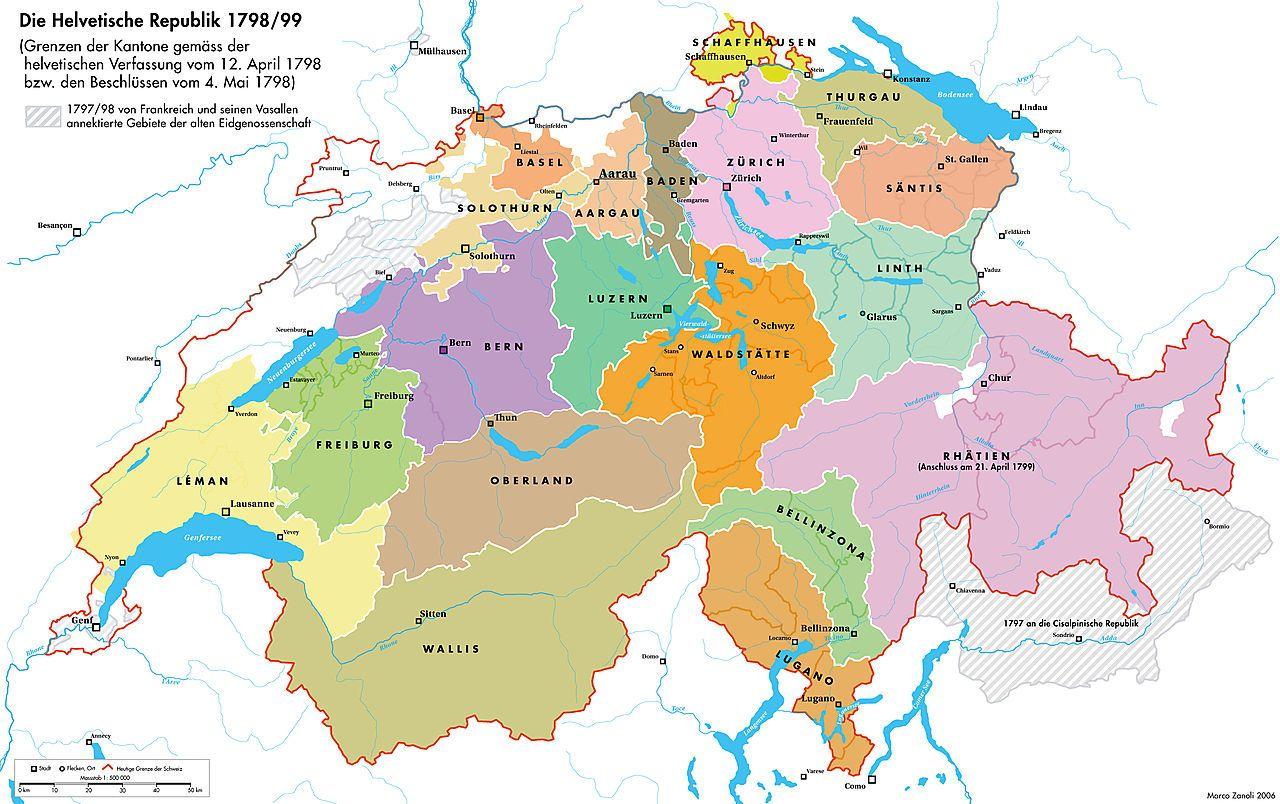 """Karte der kurzlebigen Helvetischen Republik, Stand 1798/99. Rot markiert die heutigen Grenzen, Gebiete wie Graubünden (""""Rhätien"""") und solche in der französischen Schweiz kamen damals bzw. später erst dazu. Rechts unmarkiert Vorarlberg und Tirol, im Norden das Heilige Römische Reich inklusive Gebieten Vorderösterreichs."""
