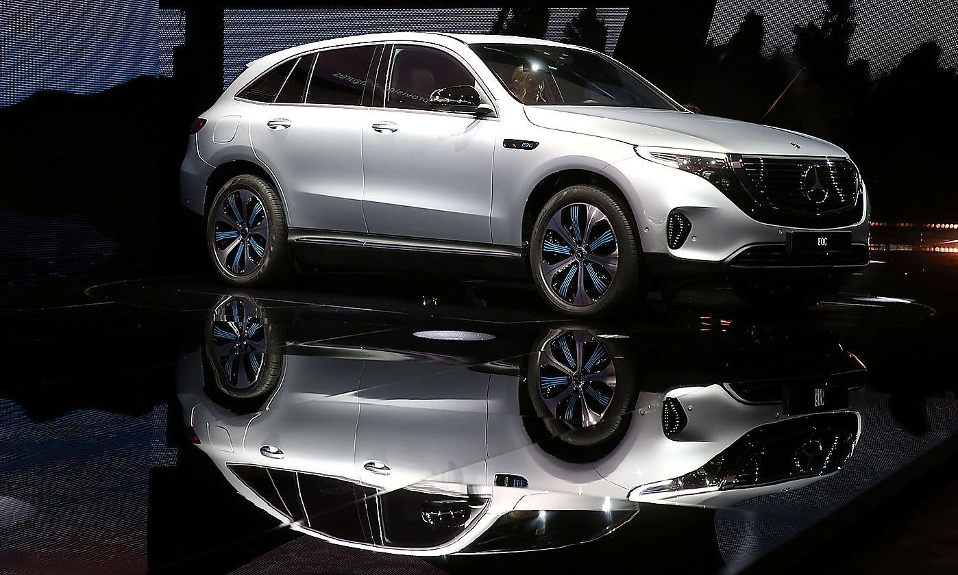 The first fully electric Mercedes car EQC is seen at a presentation in Stockholm