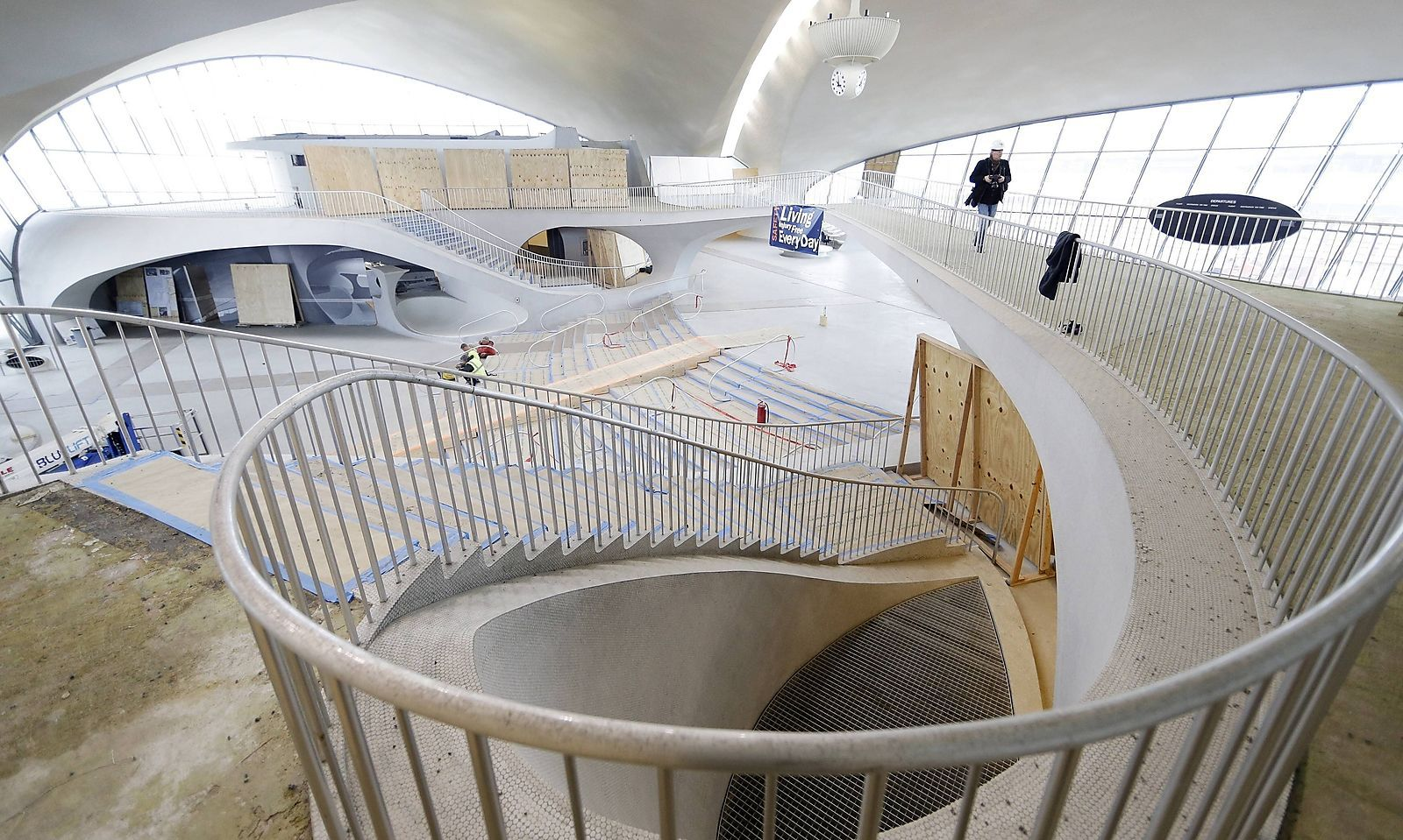 Sights of the old TWA Terminal are viewed by members of the press at a press tour of the soon to be
