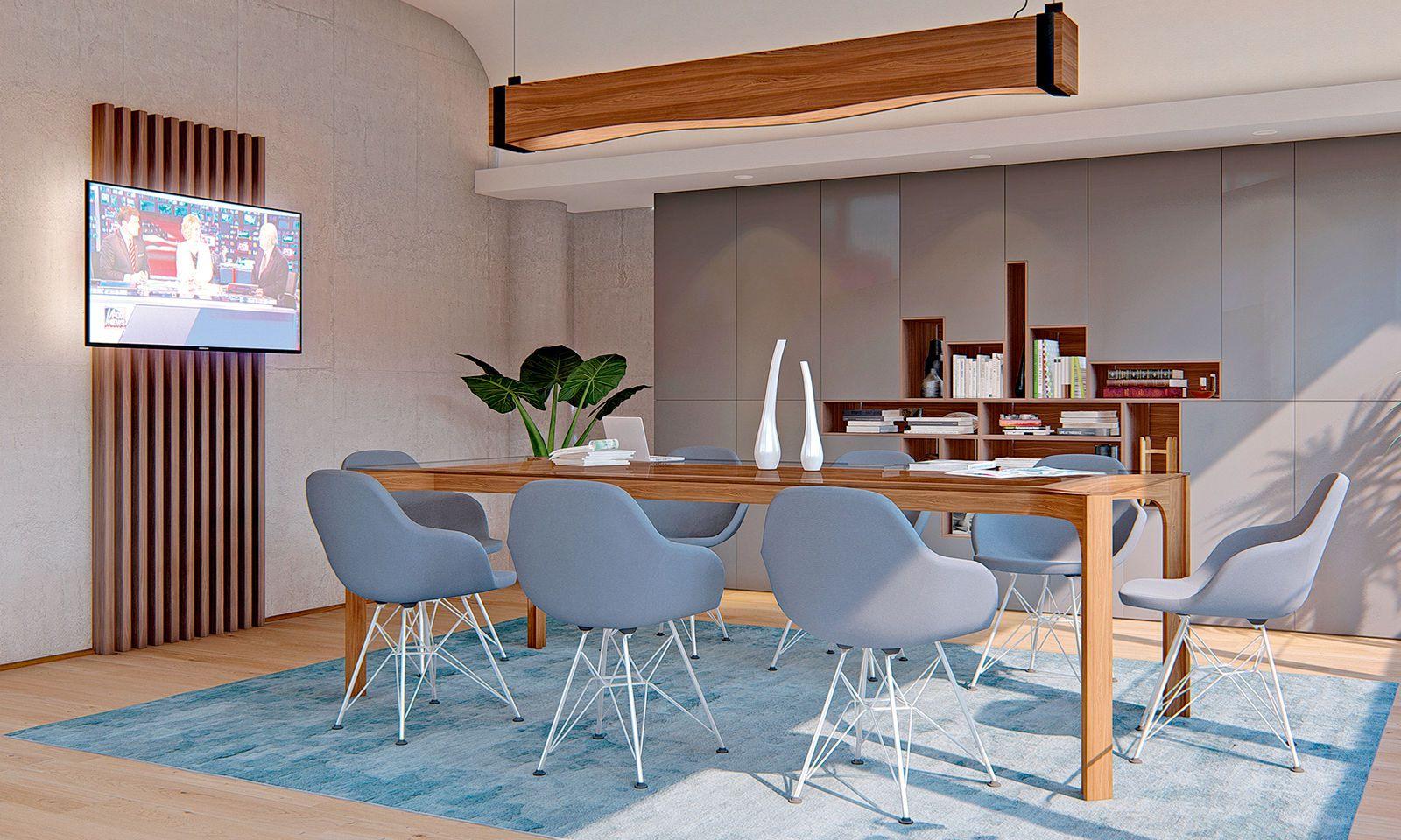 Bürokonzept aus dem Hause Ognjanovski mit hellen Farben und reduziertem Design.