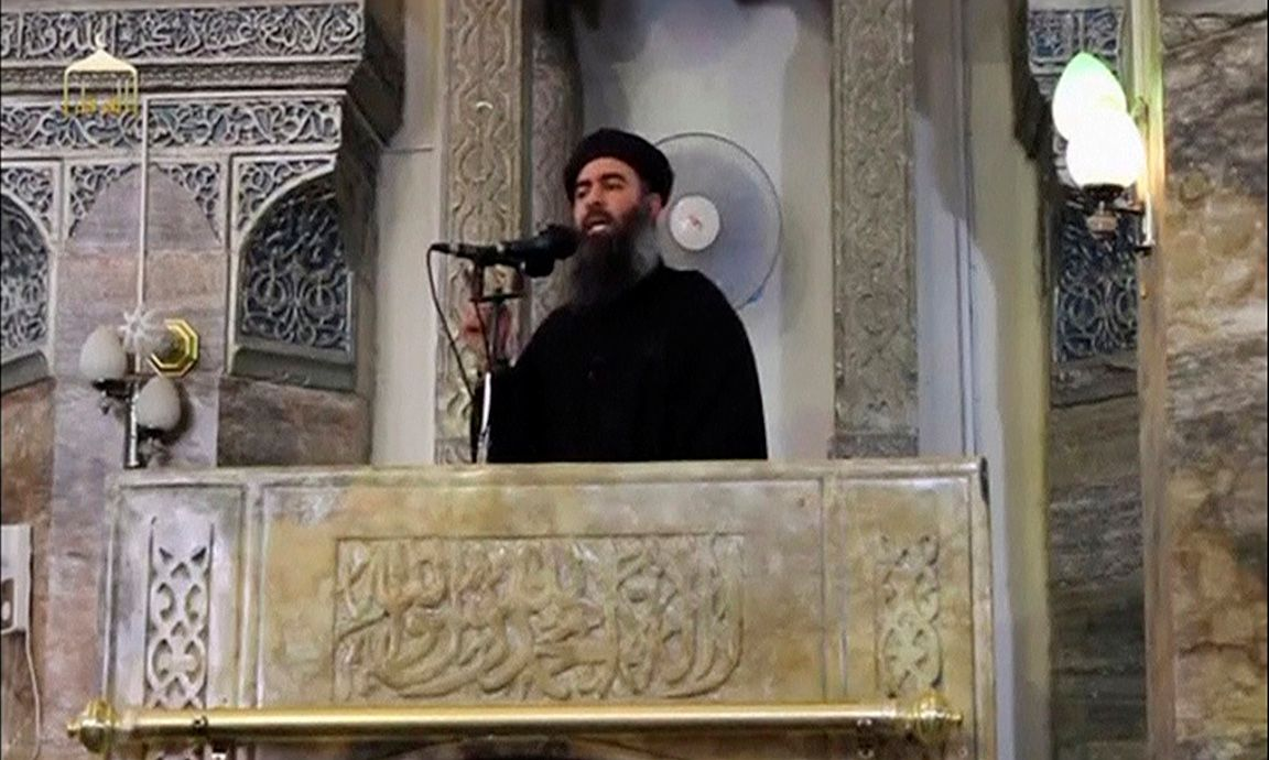 FILE PHOTO: Still image taken from video of a man purported to be the reclusive leader of the militant Islamic State Abu Bakr al-Baghdadi making what would be his first public appearance at a mosque in Mosul