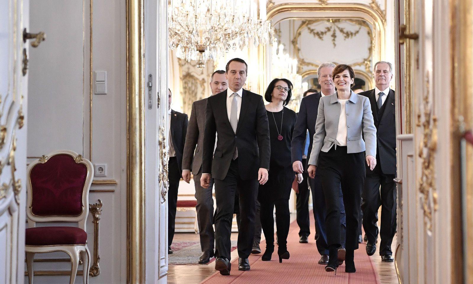 Kern und Rendi-Wagner auf dem Weg zur Angelobung der neuen Ministerin