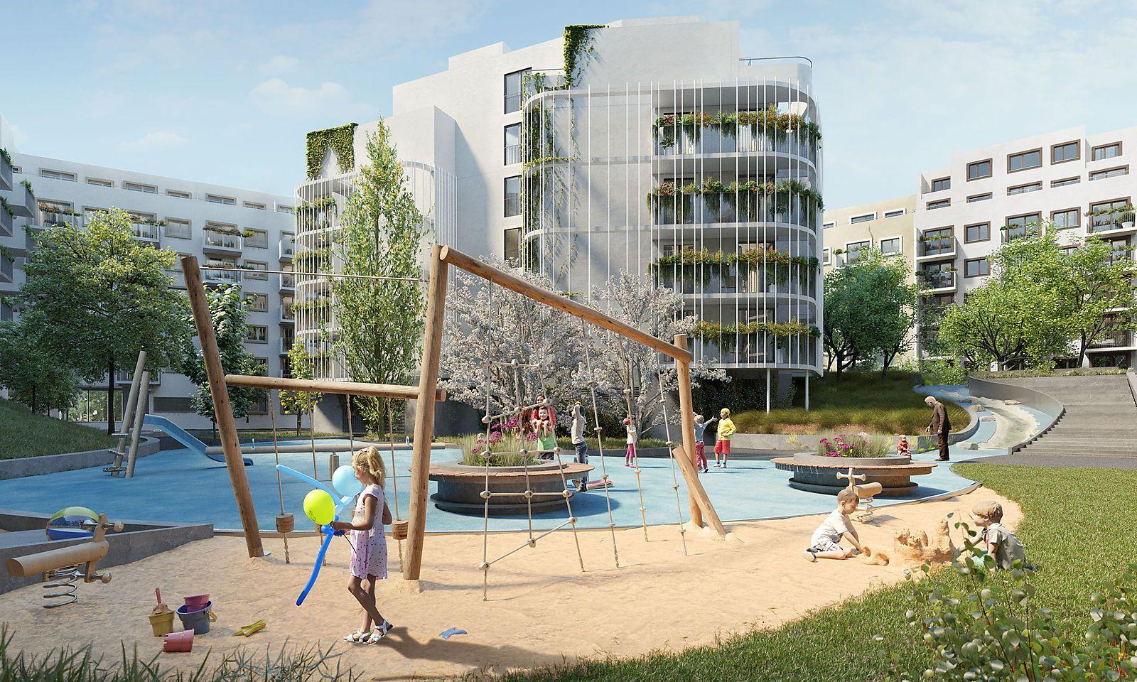Wohngarten in Simmering Innenbereich Spielplatz
