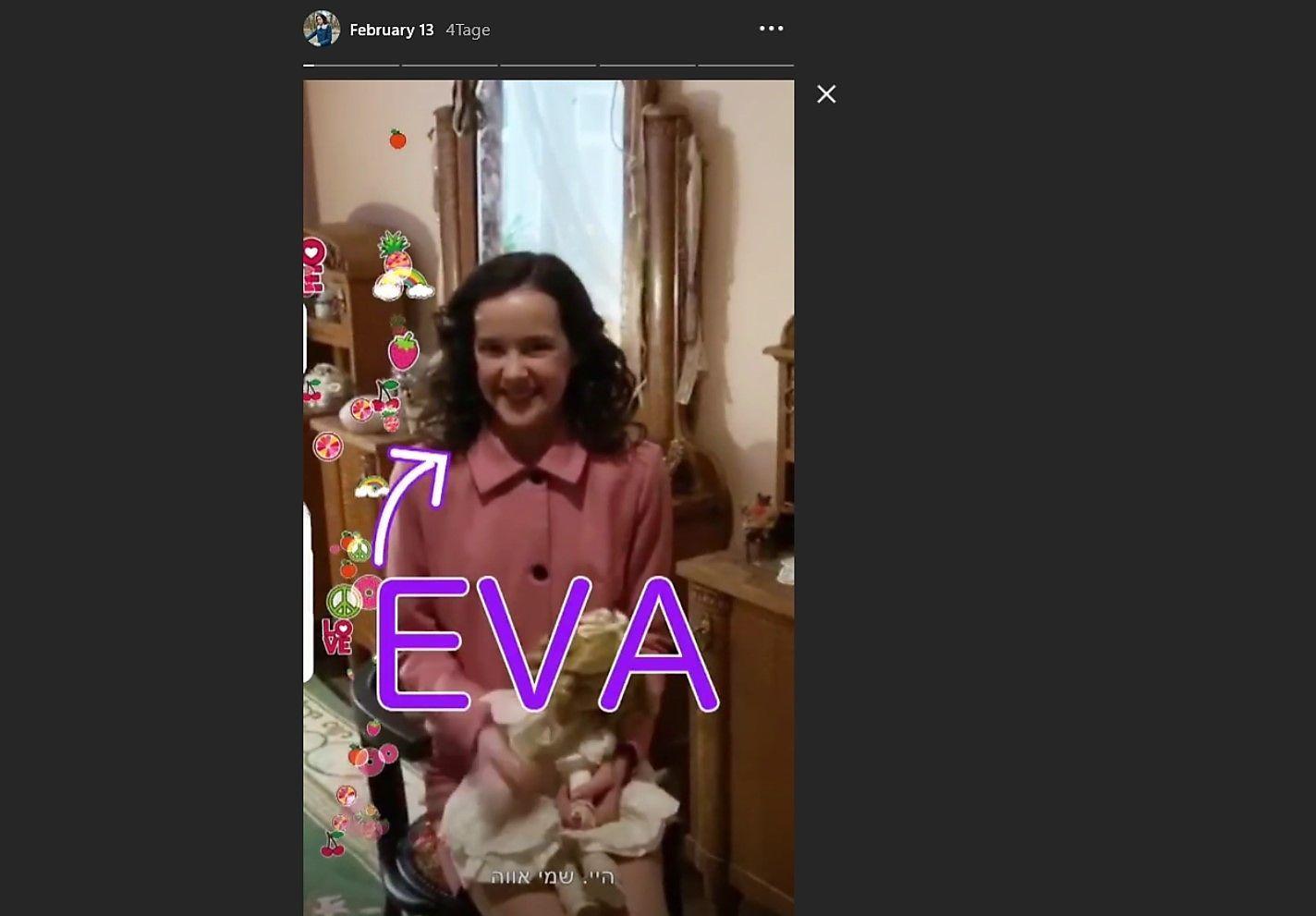 So stellt sich Eva in der ersten Story auf ihrem Instagram-Profil vor.