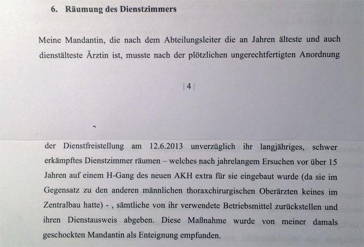Aktuell eingebrachtes Aufforderungsschreiben von Anwalt Johannes Öhlböck (er vertritt Oberärztin E.) an die Finanzprokuratur, in dem Schreiben wird die Prokuratur zur Entschädigungszahlung aufgefordert.