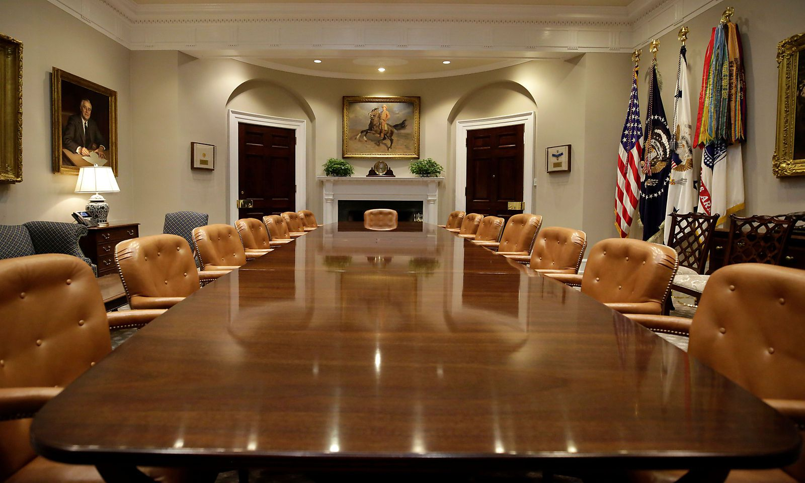 The Roosevelt Room of the White House is seen after a renovation