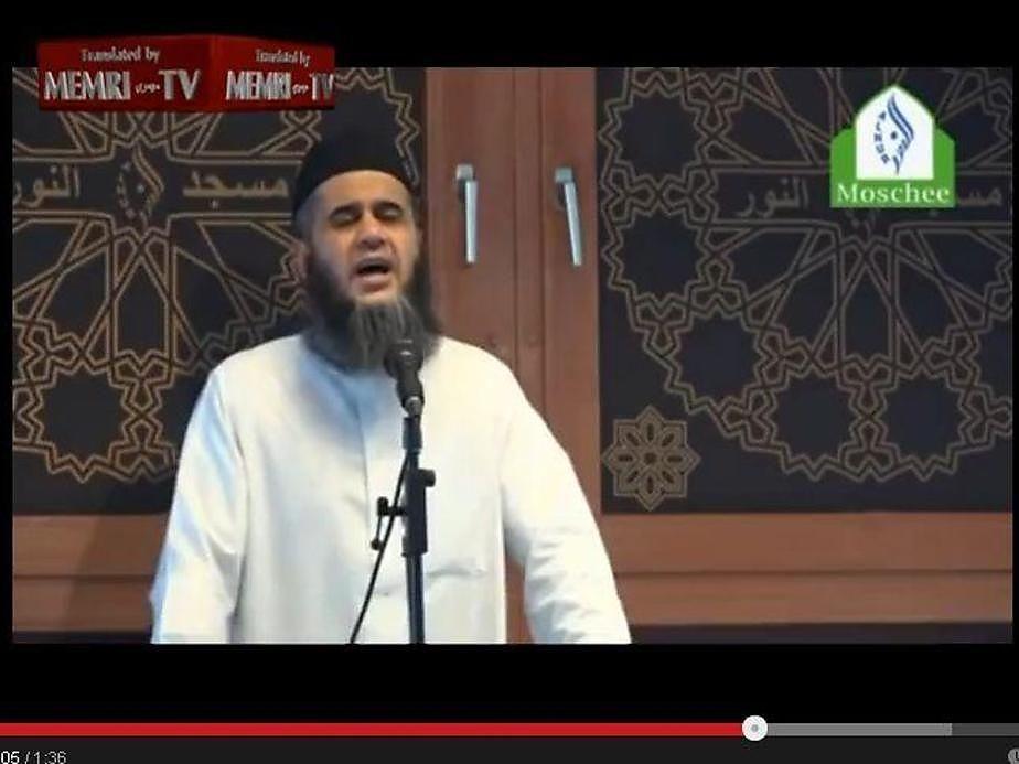 Imam Abu Bilal Ismail bei einer frühere Hassrede gegen Israel