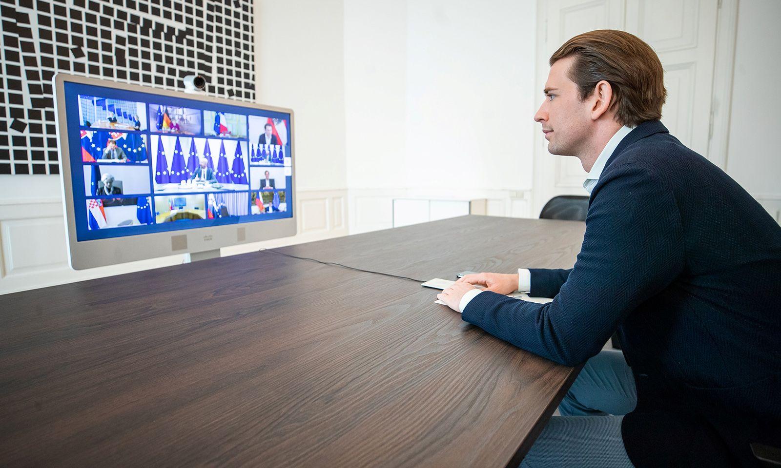 Bundeskanzler Sebastian Kurz nahm bereits an vier EU-Gipfeln per Videoschaltung teil.
