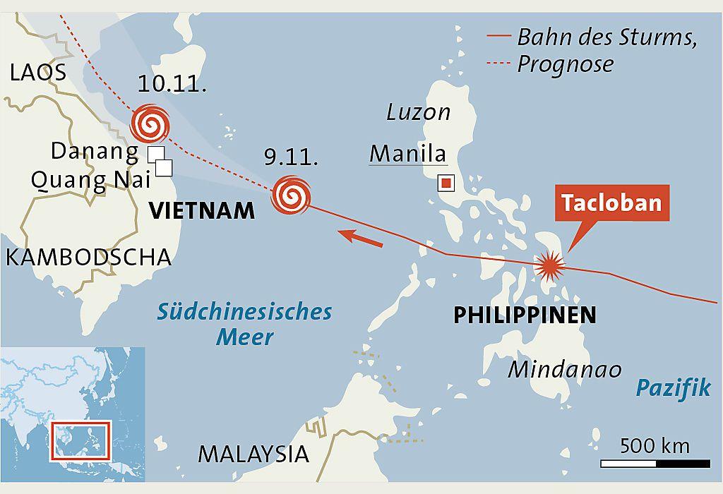 Taifun 'Haiyan' auf dem Weg nach Vietnam