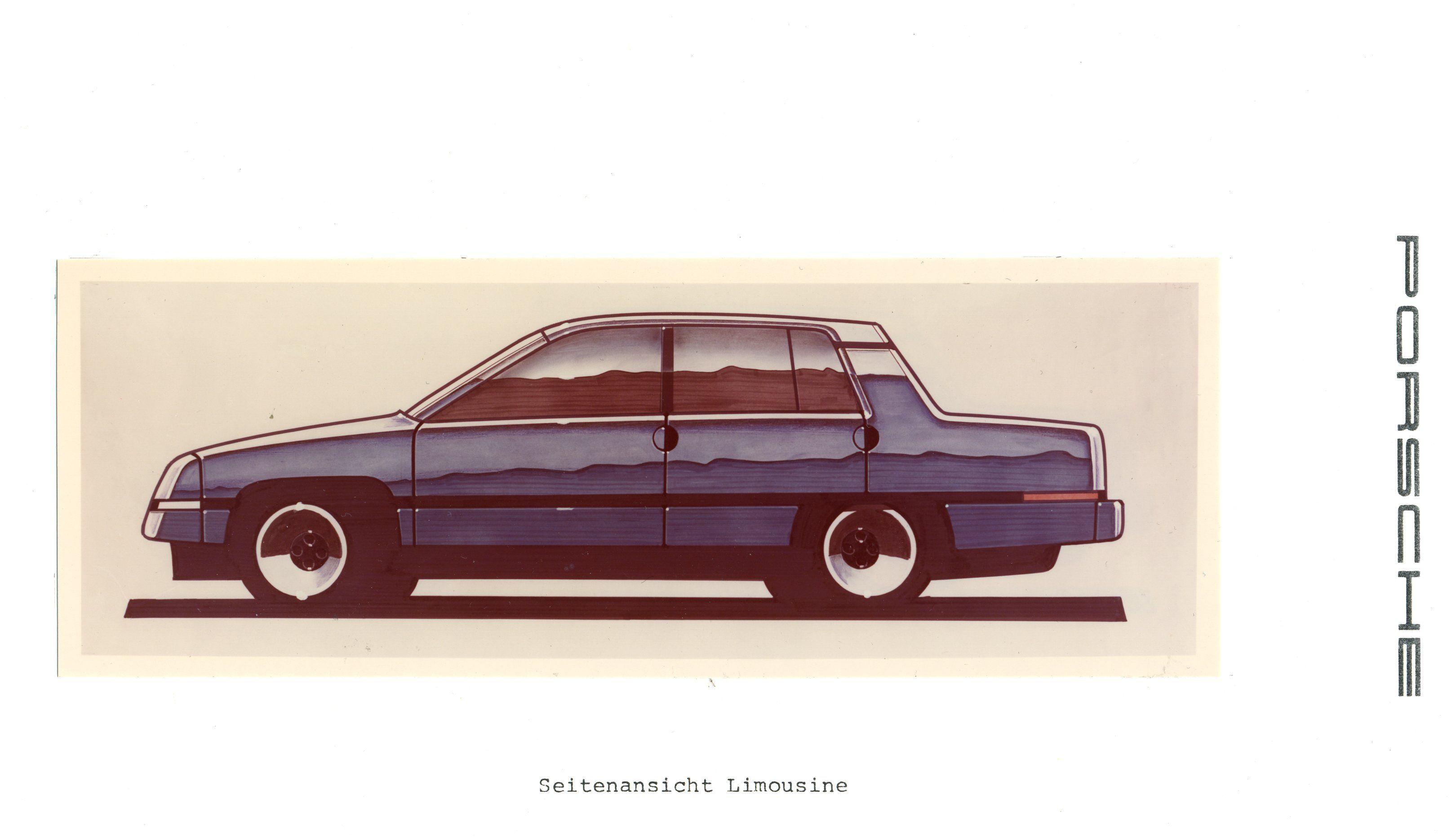 Mögliche Limousine einer Austro-Marke: Skizze aus Porsches Entwicklungsbüro.