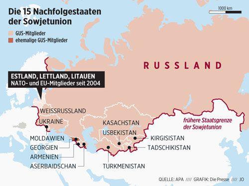 Die 15 Nachfolgestaaten der UdSSR