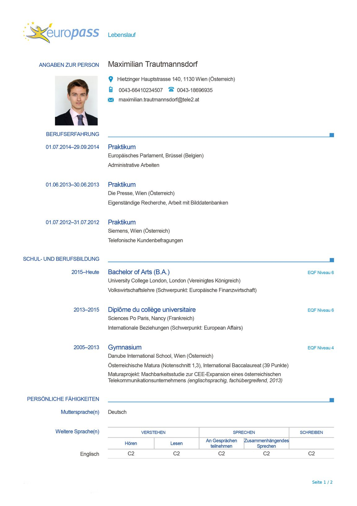 Der perfekte Lebenslauf: Europass « DiePresse.com