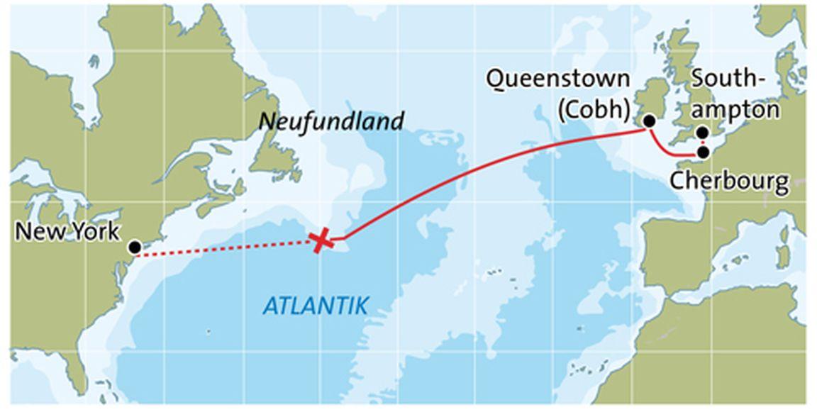 Karte Des Untergangs.Titanic Chronologie Einer Tragischen Jungfernfahrt