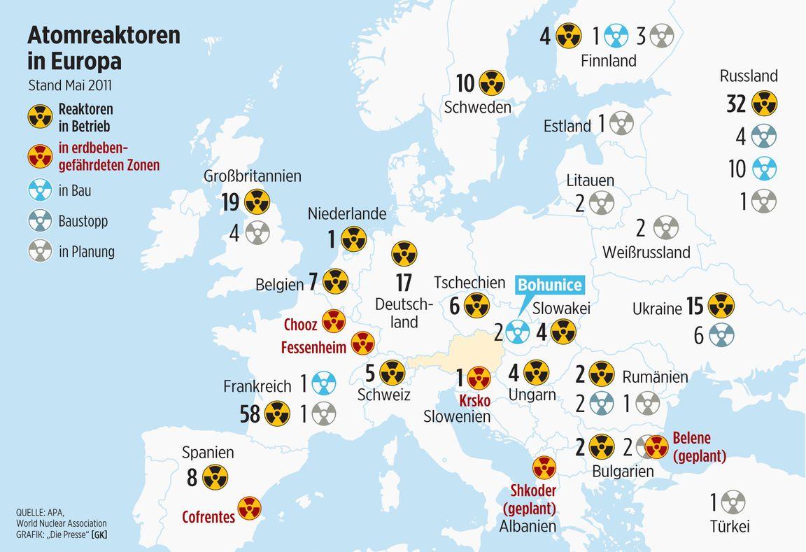 Atompolitik: AKW-Stresstests mit (fast) voller Härte « DiePresse.com - Atomkraftwerke In Deutschland Karte