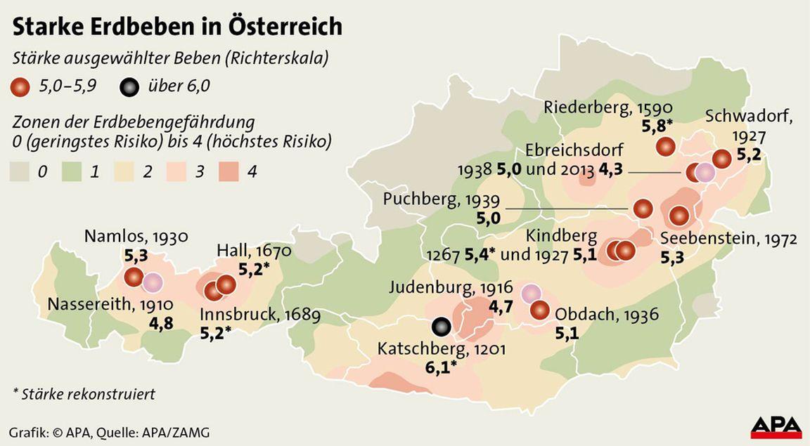 Beben in Ostösterreich: Stärke 5,3 vor 41 Jahren ...