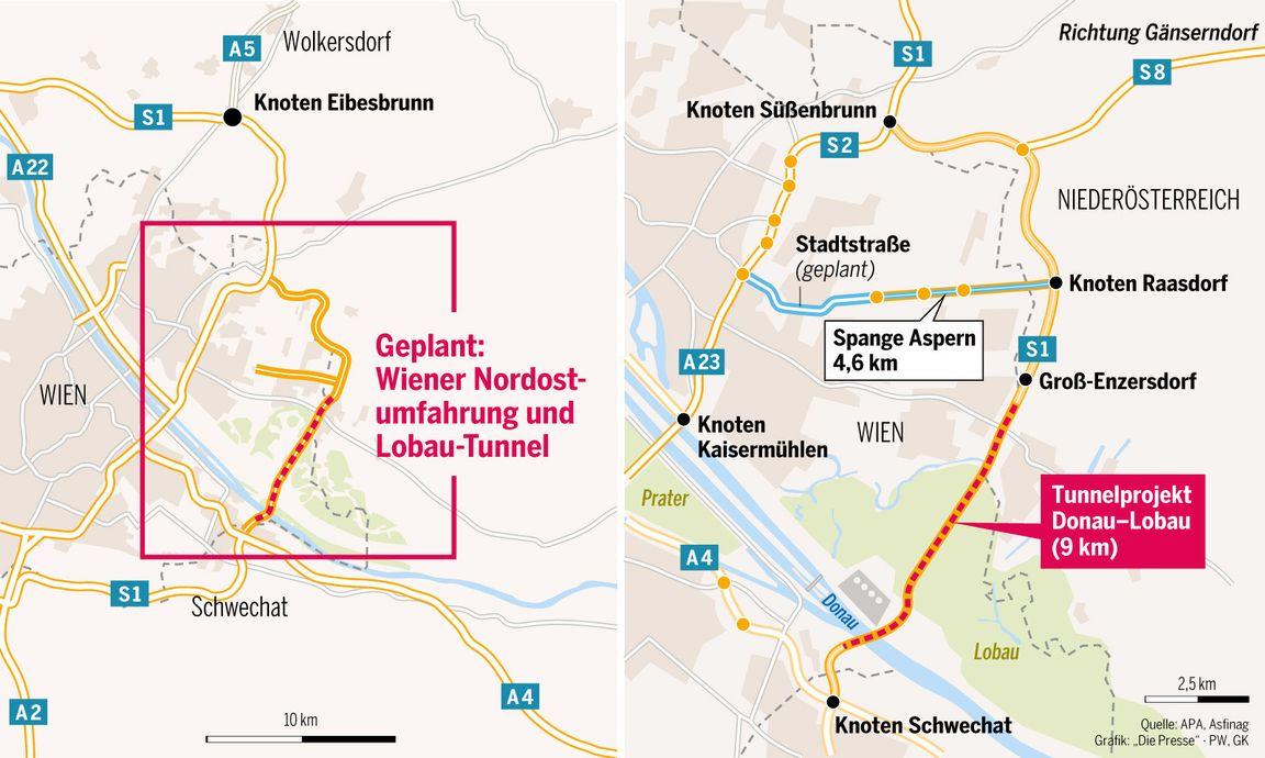 Der geplante Lobau-Tunnel.