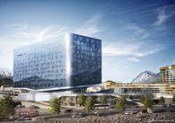 Im Vordergrund ein Visualisierung von P2 des Büro LAAC und rechts hinten P1 von Henke Schreieck rund um den Innsbrucker Bahnhof. / Bild: (c) PEMA (Visualisierung Renderwerk)