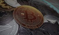 A bitcoin logo is seen at a facility of the Youth and Sports Ministry in Caracas