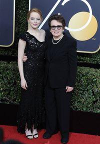 (c) imago/E-PRESS PHOTO.com (E-PRESS PHOTO.COM) Stone war bei den Golden Globes zu Gast und posierte zusammen mit Tennisstar Billie Jean King auf dem Red Carpet. Auf die Afterparty hatte die 29-Jährige allerdings keine Lust mehr.