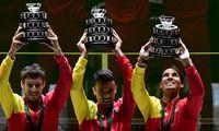 Davis-Cup-Sieger: Pablo Carreño, Roberto Bautista Agut und Rafael Nadal.