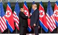 June 12 2018 Sentosa Island Singapore U S President Donald Trump right shakes hands with No