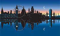 UK London View of waterfront and River Thames at dusk PUBLICATIONxINxGERxSUIxAUTxONLY Copyright x
