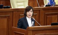 Moldova´s Prime Minister Sandu delivers a speech during a session of parliament in Chisinau