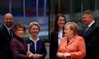 Die EU-Staatschefs debattierten in Brüssel über den Klimaschutz - von links: Ratspräsident Michel, Bundeskanzlerin Bierlein, Kommissionspräsidentin von der Leyen, die belgische Regierungschefin Wilmès, die deutsche Kanzlerin Merkel und der rumänische Präsident Johannis.