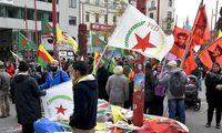 Der kurdische Protest in Wien - am Eingang zur Mariahilfer Straße.