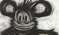 """Düstere Micky Maus: Joyce Pensato, """"Flying Home"""", Kohle auf Papier, 2010."""
