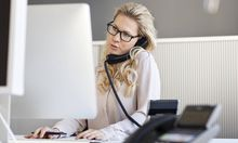 Blond woman in office on the phone model released Symbolfoto property released PUBLICATIONxINxGERxSU