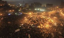 A general view of protesters chanting anti-government slogans in Tahrir Square in Cairo