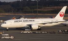 A Japan Airlines' (JAL) Boeing Co's 787 plane is seen at New Tokyo international airport in Narita