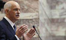 Greek Prime minister Papandreou delivers a speech to Panhellenic Socialist Movement parliamentary gro