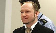 Norwegian mass killer Anders Behring Breivik looks on before being escorted for a 30-minute recess sh