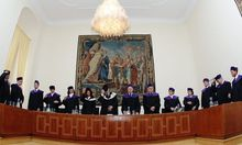 Members of Austria's constitutional court (Verfassungsgerichtshof) pose during a photo opportunity in Vienna