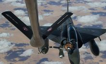 Handout of French military Mirage 2000D fighter plane being refuelled in the air over N'Djamena