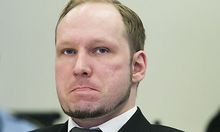 Anders Behring Breivik sits in the Oslo Courthouse, Norway, Thursday, May 3, 2012, on the 11th day of