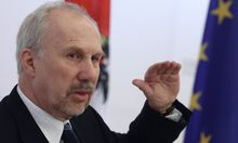 European Central Bank Governing Council member Nowotny of Austria talks during the presentation of the EBRD transition report 2012