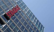 The logo of Austrian constructon firm Strabag SE is pictured at its headquarters in Vienna