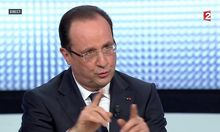 French President Hollande, in this still image taken from video from France 2 television, appears during their prime time news broadcast at their studios in Paris
