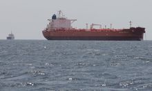 The oil tanker Caspian Galaxy sits anchored near Amuay beach, in Punto Fijo