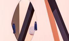 """Ohrgehänge. Glas mit Quasten:  Spiegel """"Panache"""" von Petite Friture."""